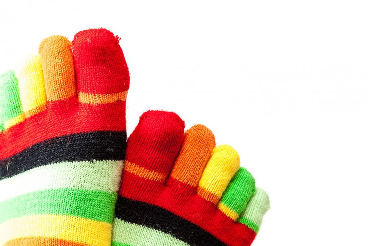 Funny colored socks female legs isolated on a white background.